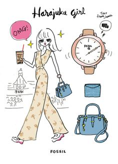 Harajuku Girl for The Fossil Event 2018 :illustration by Akiko Hiramatsu Harajuku Girls, Harajuku Fashion, Girls Tent, Fossil, Infinite, Drawing Ideas, Illustration, Painting, Random