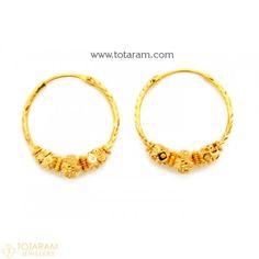 Gold Hoop Earrings Ear Bali In 22k 235 Ger7230