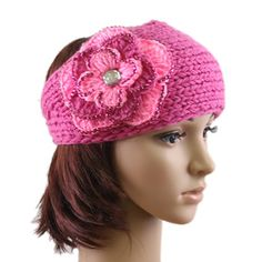 Dark Pink and Light Pink Flower Bling Rhinestone Crochet Headwrap