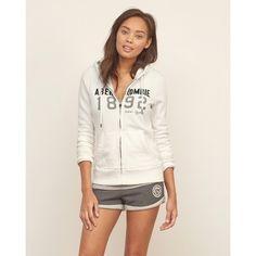 Abercrombie & Fitch Applique Logo Graphic Hoodie (385 EGP) ❤ liked on Polyvore featuring tops, hoodies, hooded sweatshirt, zip hoodies, zipper hoodies, fleece hoodies and zipper hoodie