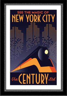 Art Deco New York City Manhattan Train Travel Poster. Pub Vintage, Photo Vintage, Vintage Art, Art Deco Artwork, Art Deco Posters, Art Deco Illustration, Kunst Poster, Poster S, Deco New York