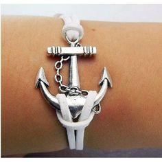Anchor Bracelet,simple fashion Bracelet,Love bracelet,Couples bracelet,lover bracelet,leather bracelet,hipsters jewelry,braided bracelet,white wax rope