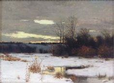 "Charles Warren Eaton, Winter Solitude. Charles Warren Eaton (1857–1937) was an American artist best known for his tonalist landscapes. He earned the nickname ""the pine tree painter"" for his numerous depictions of Eastern White Pine trees."