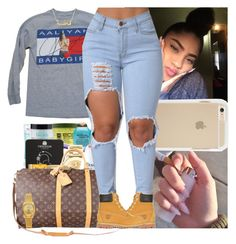 A fashion look from December 2016 featuring distressed shirt, timberland shoes and gold jewellery. Browse and shop related looks. Lit Outfits, Cute Swag Outfits, Tumblr Outfits, Dope Outfits, Fall Outfits, Casual Outfits, Dope Fashion, Teen Fashion, Fashion Outfits