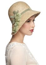 fashion, modcloth, edith hat, vintage hats, cloche hats, pure edith, green flowers, retro vintage, vintage inspired