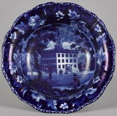 Historical blue Staffordshire Lawrence Mansion, Boston basin, 3 3/4'' h., 12'' w.