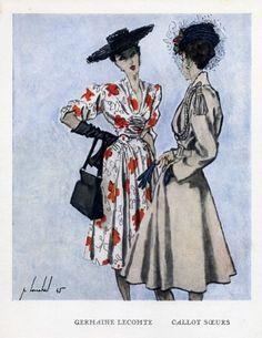 Callot Soeurs & Germaine Lecomte 1945 Louchel Fashion Illustration