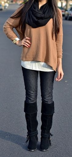simple, make the jeans a jean skirt and its perfect!