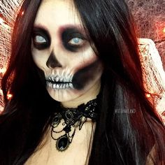 20 Creepy Skull & Skeleton Halloween Makeup Ideas, Trends & Looks 2019 - Idea Halloween Amazing Halloween Makeup, Halloween Looks, Halloween Cosplay, Scary Halloween, Halloween Face Makeup, Halloween Skull, Halloween Costumes, Horror Makeup, Scary Makeup