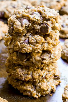 Almond Butter Oatmeal Chocolate Chip Cookies (V+GF): An easy recipe for deliciously simple, protein-packed cookies. Vegan, Gluten Free, Dairy Free.