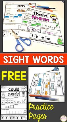 Free Printable Sight Words Worksheets > Nastaran's Resources Free Sight Words Practice Pages . Free Printable Sight Words Worksheets are designed to cover all topics in Sight Words. These worksheets help your students practice more in sight words. Kindergarten Reading, Reading Activities, Teaching Reading, Reading Resources, Guided Reading, Free Reading, Early Finishers Kindergarten, Teacher Resources, Learn To Read Kindergarten