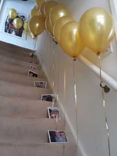 Balloons with photos attached were used for an #engagement party but could also be used for a milestone birthday