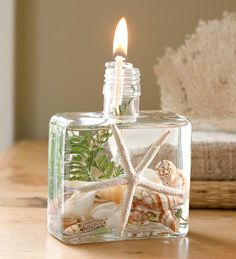 Square Seashell Lifetime Oil Candles | Wind