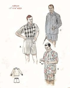 "Vintage Années 1950 Sewing Pattern Men/'s Sports Shirt Large Poitrine 42 44/"" Rockabilly"