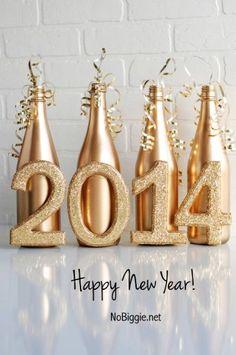 Diy 2016 new year wine bottle crafts - golden, new year decoration