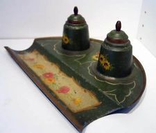 Antique Victorian French Painted Tin Toleware Twin Inkwell Standish Ink Stand