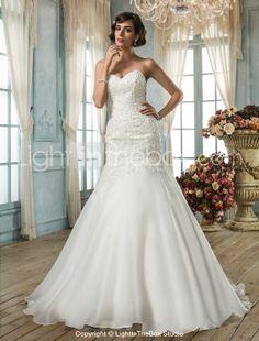 Trumpet/Mermaid Sweetheart Organza Wedding Dress - USD $ 299.99