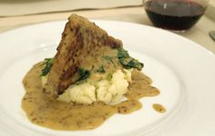 Roasted Tempeh with Dijon Sauce, Horseradish mashed potatoes and sautéed spinach