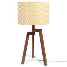 Lampe mit Dreifuß aus Holz mit gemustertem Lampenschirm H 57 cm LUNEL