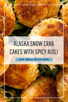 A little spice is nice in this decadent Alaska snow crab cakes with spicy aioli recipe by Eat Well with Sari. Crab Cake Recipes, Fish Recipes, Seafood Recipes, Appetizer Recipes, Dinner Recipes, Cooking Recipes, Healthy Recipes, Appetizers, Pastries