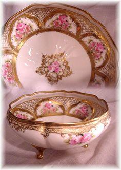 RC Nippon Noritake Bowl Pink Roses Fancy Gold
