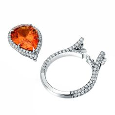 TAMIR Mandarin Garnet Diamond Detachable Ring - Pendant  | From a unique collection of vintage cocktail rings at http://www.1stdibs.com/jewelry/rings/cocktail-rings/