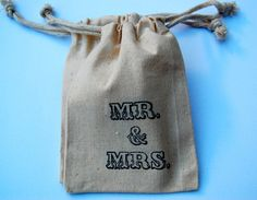 Muslin Bags / Mr and Mrs / Set of 10 / Perfect by littlechicklets, $12.50