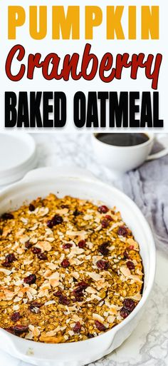 This Pumpkin Cranberry Baked Oatmeal is the perfect breakfast any day of the week! Hearty, filling, and yummy, this baked oatmeal is what you have been looking for to start your day off right. Pumpkin Oatmeal, Baked Oatmeal, Eggless Recipes, Easy Healthy Recipes, Good Food, Yummy Food, Delicious Dishes, Delicious Recipes, Dessert For Dinner