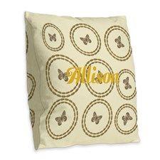 Cute Gold Cream Butterfly Burlap Throw Pillow