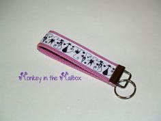 CAT kitten Ribbon//webbing keyfob keyring zip pull bag tag teacher gifts handmade