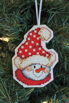 Handmade Snowman in Red Hat Cross Stitch by IttyBrittyNeedle