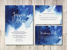 Navy Blue Watercolour Wedding Invitation Suite // DIY Printable Invites