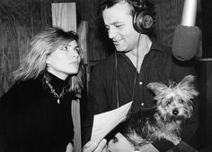 "Debbie Harry with Bill Murray in studio recording the love theme ""The Best Thing"" for John Waters' Polyester (1981) starring Divine."