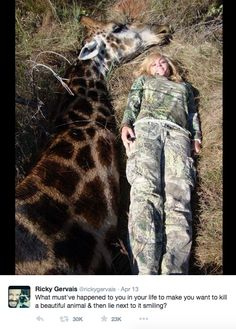 Ricky Gervais calls out hunter for disturbing viral photo. Click for story