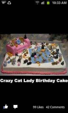 Crazy cat lady cake Mom's birthday.  @Lara Elliott Elliott Anton -get your baker on it!