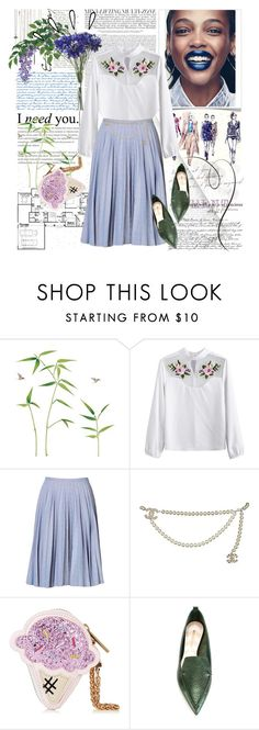 """""""Untitled #1753"""" by ladybird-fb ❤ liked on Polyvore featuring J.W. Anderson, Chanel, Old Navy, Nicholas Kirkwood, Spring, Blue, fashionset and polyvoreeditorial"""