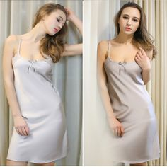 Find More Nightgowns & Sleepshirts Information about Summer Sexy Women Nightwear Mini Nightgowns Tempatation Deep V Straps Skirts Silk Sleepwear Plus Size Solid Color Night Dress,High Quality sleepwear,China dress clubwear Suppliers, Cheap sleepwear set from Bys Store Store on Aliexpress.com