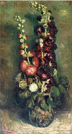 Vase of Hollyhocks, 1886-Vincent van Gogh