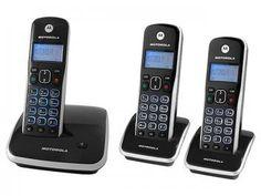 Telefone Digital sem fio Motorola + 2 ramais - Identificador de Chamadas AURI 3500 MRD3