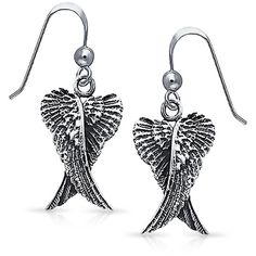 Bling Jewelry Bling Jewelry Angel Wings Dangle Earrings 925 Sterling... ($33) ❤ liked on Polyvore featuring jewelry, earrings, grey, evening earrings, holiday jewelry, dangle feather earrings, french hook earrings and long feather earrings