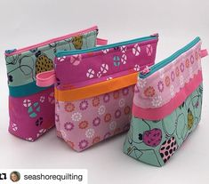 Gorgeous Becca Bags by Allison of @seashorequilting Great job! #repost ・・・ 3 fat quarters and some scraps = 3 fabulous #beccabags I highly recommend @joanhawley Craftsy class. Full of awesome tips and so much fun!! #LazyGirlDesigns #ZipperPouch