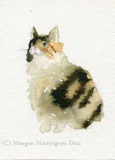 Cat Art - Calico Cat - Watercolor 5x7 Fine Art Print Cat painting black stripes on Etsy, $18.00