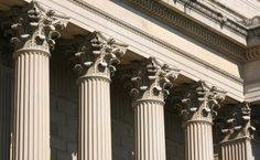 The capital of Corinthian columns at the National Archive in Washington, DC