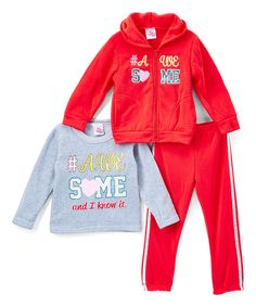 Another great find on #zulily! Real Love Red & Gray '#Awesome' Fleece Hoodie Set - Infant, Toddler & Girls by Real Love #zulilyfinds