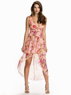 Floral High Low Dress - Nly One - Peach - Party Dresses - Clothing - Women - Nelly.com