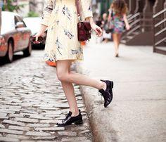 sheinside cadillac dress + weekday brogues