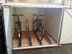 Want to find out about 2 story shed plans? Then here is without doubt the right place! Bicycle Garage, Bike Shed, Garden Storage Cabinet, Storage Cabinets, Outdoor Bike Storage, Dirt Bike Room, Bike Shelter, Build Your Own Shed, Backyard