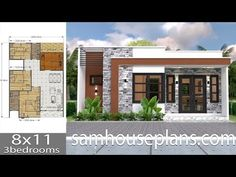 House Plans with 3 bedrooms Full Plans - Sam House Plans 2bhk House Plan, Model House Plan, House Layout Plans, House Layouts, Modern Bungalow House, Bungalow House Plans, Bedroom House Plans, Modern Small House Design, House Front Design