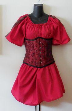 Ladies red short sleeve chemise w/ trim medieval & Gothic garb Pirate Cotton,