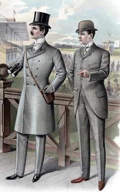Mens Regency, Victorian and Edwardian Outfits at Gentleman's Emporium- Joi Downing These are the type of garments men wore during this period. Blocky and broad. Much padding in the shoulders. Very high starch collars. Also began to have waist definition and the jackets were longer than the previous times.